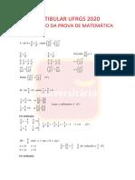 Prova de Matemática UFRGS 2020