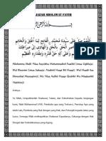 IJAZAH SHOLAWAT FATIH YAYASAN AL-MU'AFAH