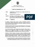 Directiva presidencial para el retorno de los servidores públicos