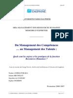 Du Management Des Competences Au Managem