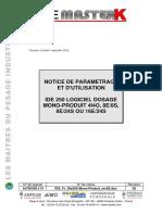 Notice Technique FR 02 Parametrage Utilisation IDe 250 Mono Produit