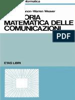 Claude E. Shannon, Warren Weaver - Una teoria matematica delle comunicazioni-Etas Libri (1986)