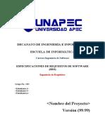 Plantilla Requistos del Sistema - Formato IEEE-830-1998 Octubre 2015