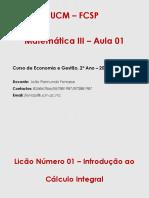 AULA  1 - INTRODUCAO AO CALCULO INTEGRAL act