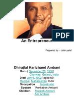 DHIRUBHAI AMBANI An Entrepreneur