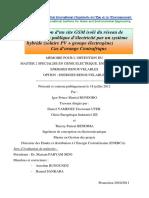 Alimentation d Un Site GSM Isolé Du Réseau de Distribution Publique d Électricité Par Un Système Hybride (Solaire PV + Groupe Électrogène)