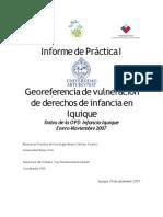 Georeferencia de vulneración de derechos de infancia en Iquique