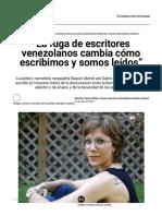 """""""La fuga de escritores venezolanos cambia cómo escribimos y somos leídos"""" _ Cinco8"""