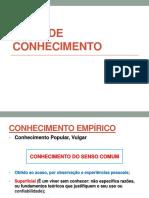 TIPOS DE CONHECIMENTO - ed fisica