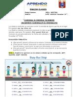 ENGLISH  LESSON  24 CARDINAL  & ORDINAL NUMBERS Nov. 16