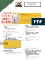 El Sujeto y Su Estructura Para Sexto Grado de Primaria
