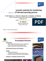 Acoustic Emission Monitoring of Thermal Spray