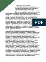 RÉFÉRENTIEL DE FORMATION EN HYGIÈNE ALIMENTAIRE
