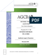 Informe Auditoria OBSBA - Período 2016