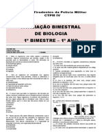 Avaliação Bimestral Biologia - 1º ano - 1º bim [modelo escola]