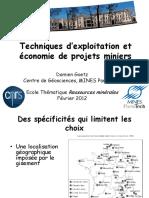 Techniques Dexploitation Et Economie Des Projets Miniers