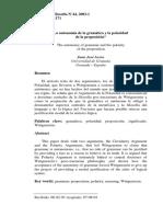 Acero - La autonomía de la gramática y la polaridad de la proposición