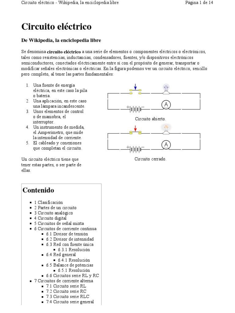 Circuito General : Circuito eléctrico