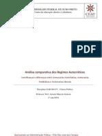 Análise comparativa dos Regimes Autocráticos Semelhanças e diferenças entre Autocracias Autoritárias, Autocracias Totalitárias e Autocracias Liberais