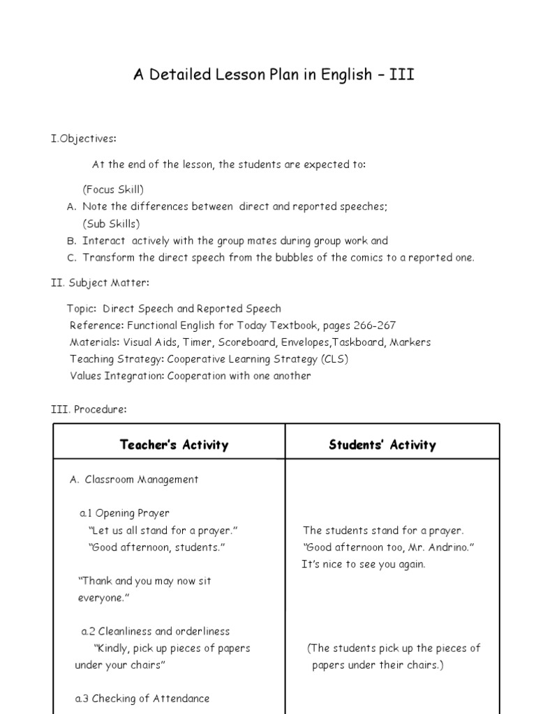 semi detailed lesson plan in english Semi- detailed lesson plan february 4, 2013 science i objectives at the end of the 60 minute period the students should be able to: ø define what is solvent and solutes.