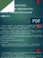 Элементы системы управления персоналом, связи, синергетический