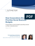 Altimeter How Corporations Should Prioritize Social Business Budgets (Feb 11)