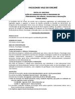 Edital Mestrado CTE Turma 20202