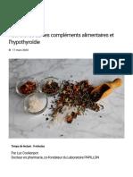 Recherches sur les compléments alimentaires et l'hypothyroïdie