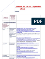 Revue de Presse Du 13 Au 19 Janvier 2011