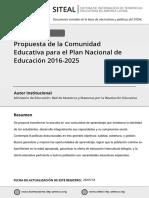 Propuesta Plan Decenal 2016-2025