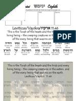 Shemini Hebrew Copywork