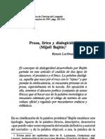 (Lachmann, Renate) Prosa, lírica y dialogicidad -Mijaíl Bajtín-