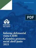 Informe Analítico Paro Nacional Defensoria Del Pueblo para CIDH