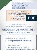 UST Curso GI de minas - 3 Clase, Parte 1 GENERALIDADES Y TIPOS DE YACIMIENTOS