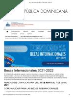 Becas Internacionales MESCYT 2021-2022 - MESCyT