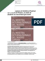 La comunicazione dell'Università di Urbino al Festival del Cinema di Pesaro - Vivereurbino.it, 14 giugno 2021