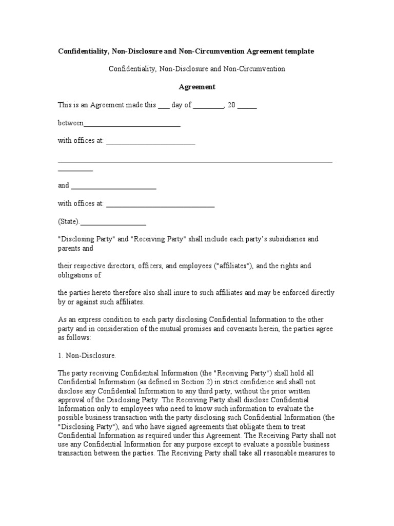 Ndnc For Writers Template Non Disclosure Agreement Confidentiality