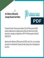 Consejo Escolar - pliego para la obra de refacción de baño de docentes y arreglo en depósito en EP N° 4