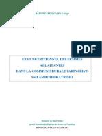 Etat nutritionnel des femmes allaitantes de la commune rurale IARINARIVO SSD Ambohidratrimo (RAHANTARIMANANA Laingo-INSPC/2007)