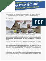 DEPARTEMENTALES 2021 COMMUNIQUE Bonfillon / Mercier