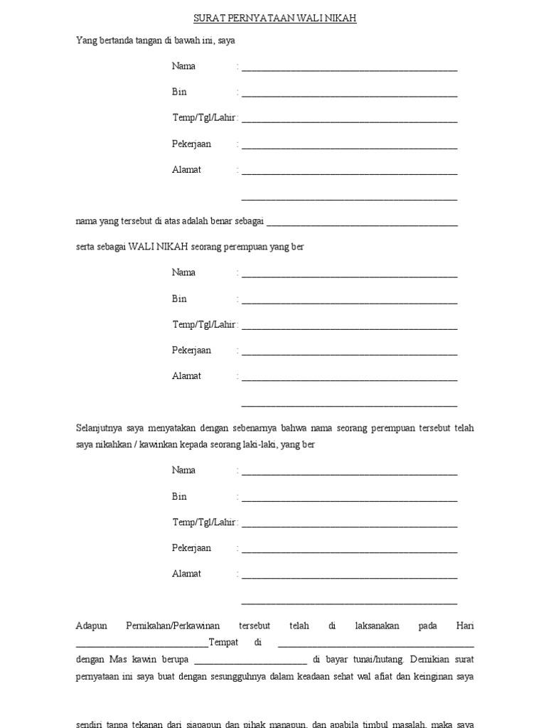 surat pernyataan wali nikah