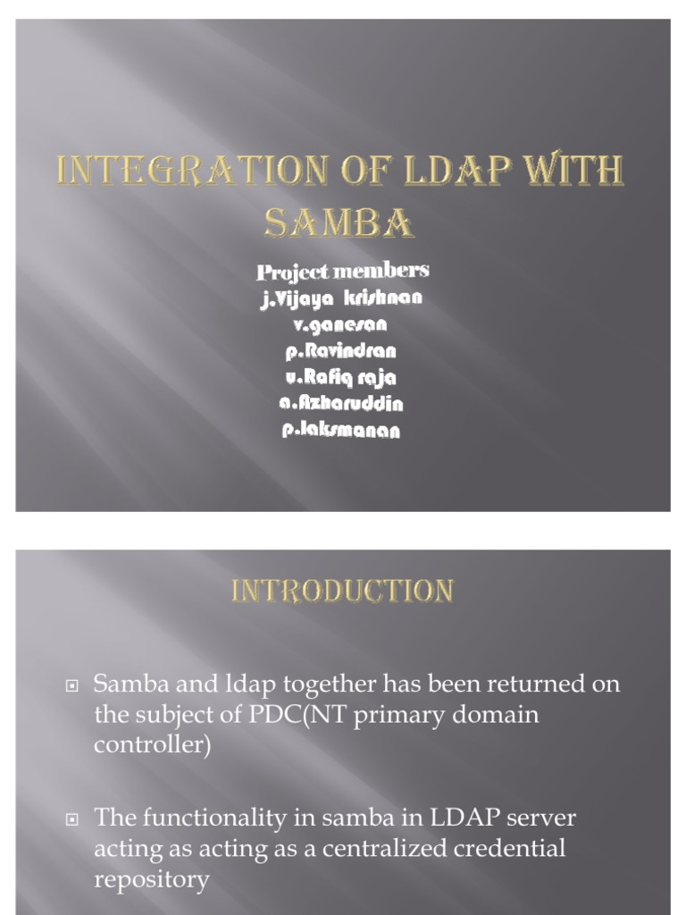 Integration of ldap with samba | Digital Technology