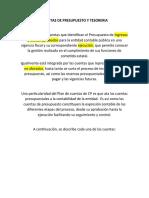 CUENTAS DE PRESUPUESTO Y TESORERIA