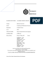Sample of Object Oriented Software Development Exam (June 2007) - UK University BSc Final Year