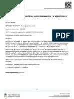 Decreto 396/2021 - intervención del INADI