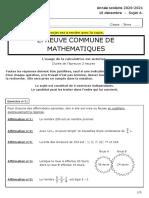 Brevet Blanc Math College Jean Lecanuet Decembre 2020