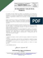 POLITICA DE SEGURIDAD Y SALUD EN EL TRABAJO HLVS