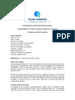 INFORME DE ATENCIÓN PSICOLOGICA