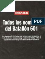 Batallón 601 - listado de personal civil que colaboró con la dictadura 1976 a 1983 - parte1