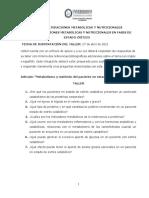 TALLER Metabolismo y Nutrición Paciente Crítico